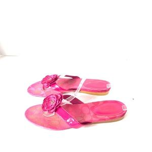 Coach Leather Logo Slip-on Comfort Pink Slippers
